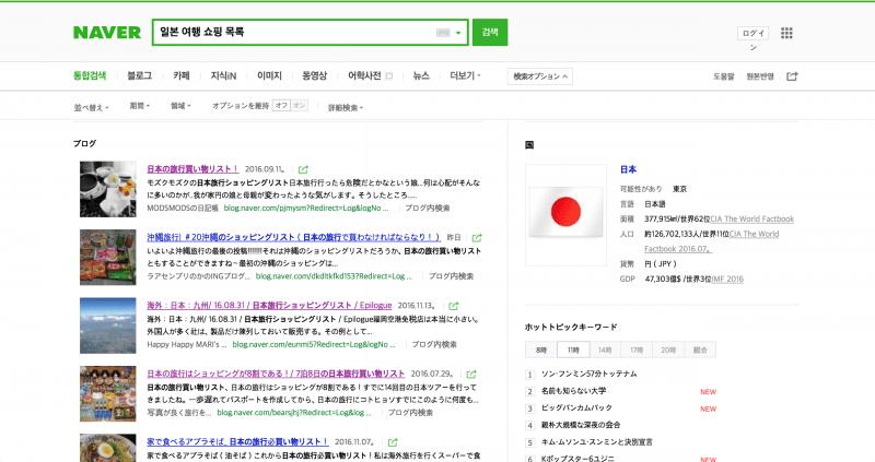 韓国版NAVERスクリーンショット:「일본 여행 쇼핑 목록(日本旅行 ショッピングリスト)」と検索した画面を日本語翻訳したもの