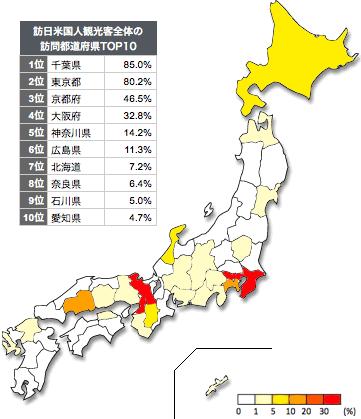 訪日米国人観光客の都道府県別訪問率ヒートマップ