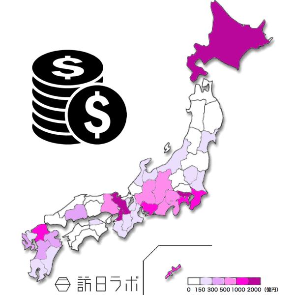 都道府県別 インバウンド消費額ヒートマップ