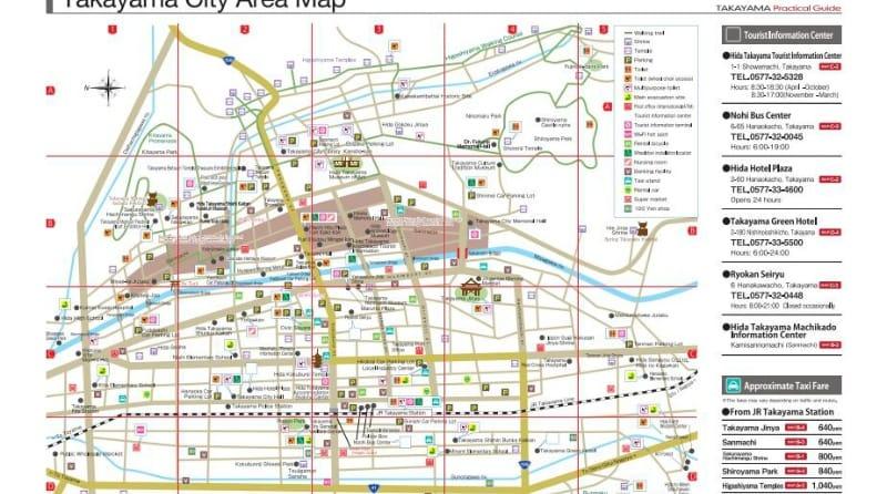 「飛騨高山 ぶらり散策マップ」英語版:高山市公式観光サイト 英語版より引用