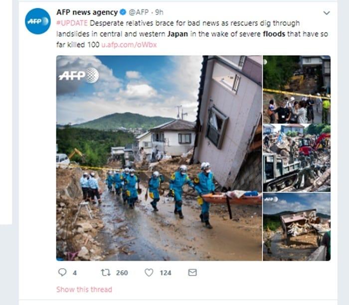 AFP通信の「平成30年7月豪雨」報道の模様 Twitterより