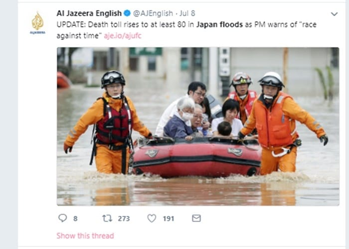 アルジャジーラ・イングリッシュの「平成30年7月豪雨」報道の模様 Twitterより
