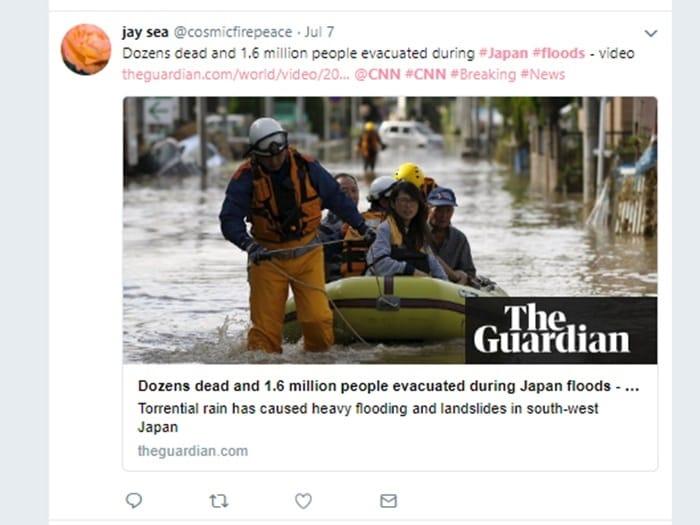 ガーディアンの「平成30年7月豪雨」報道の模様 Twitterより