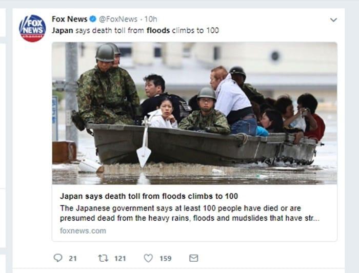 FOXNewsの「平成30年7月豪雨」報道の模様 Twitterより