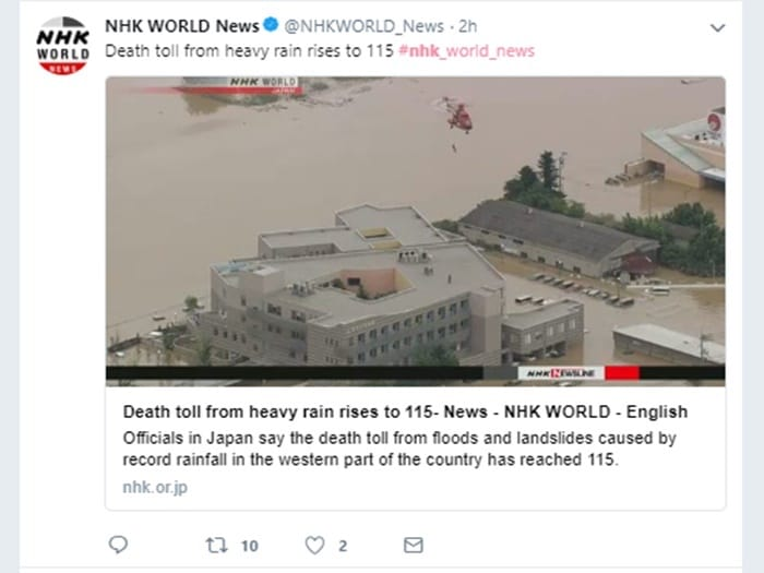 NHKWorldの「平成30年7月豪雨」報道の模様 Twitterより