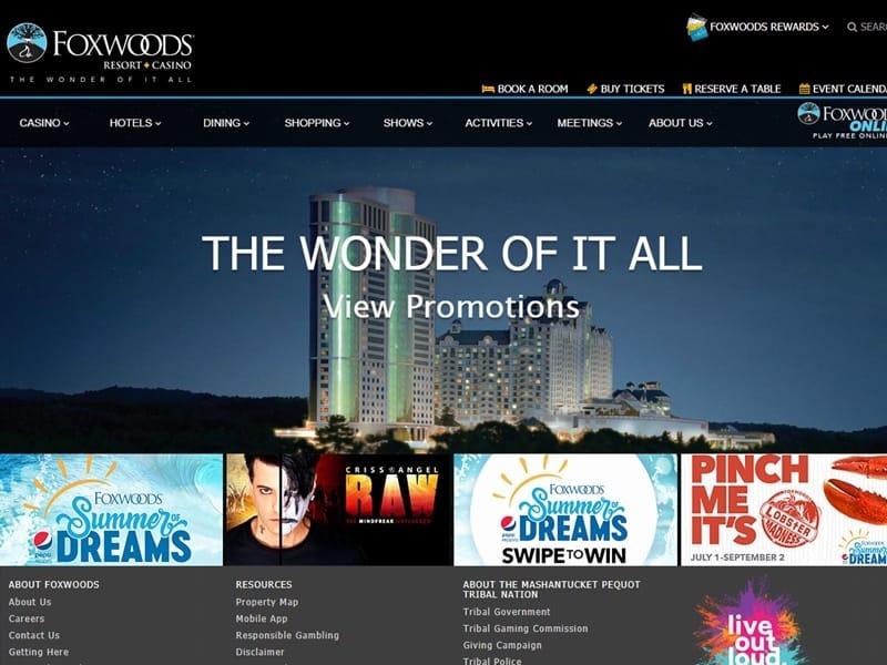 フォックスウッド・リゾート・カジノ公式ホームページ