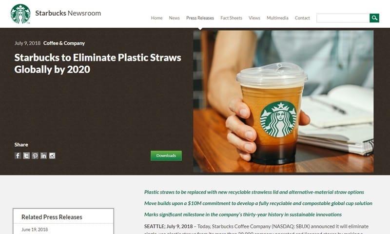 スターバックスのグローバルプレスリリース July 9, 2018 Coffee & Company