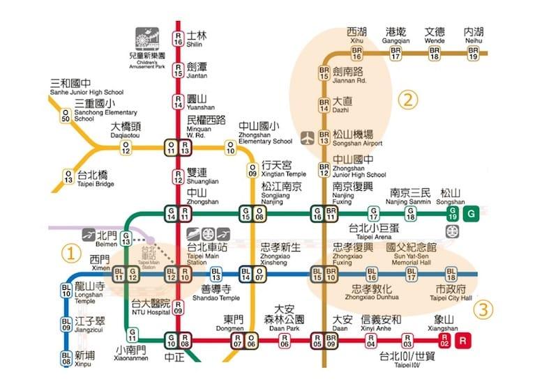 MRT(台湾地下鉄)の三つの注目エリア(台北捷運公司より抜粋)