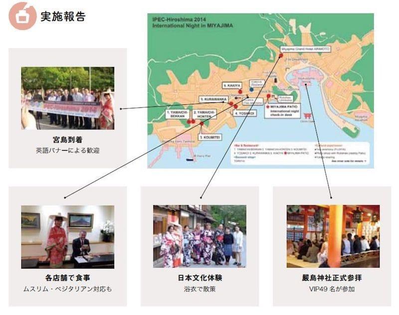 IPEC実行委員会が主催で厳島神社を利用して実施されたイベント(ユニークベニューベストプラクティス集より引用)