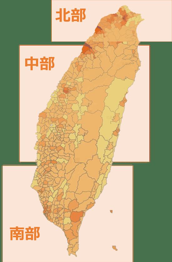 台湾の顕在トラベラーの人口分布図(地図内の境界線は市あるいは区)