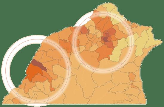 台湾北部の顕在トラベラー層の分布(左が新竹市、右が台北市。Vpon Big Data Groupデータより)