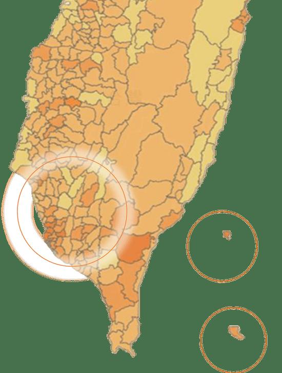 台湾南部の分布(Vpon Big Data Groupデータより)