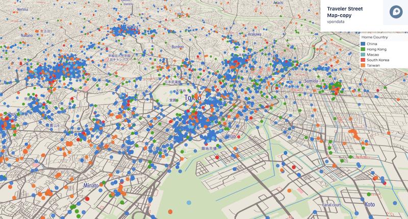 東京近辺の海外からの旅行者の分布(青点が中国、緑点が香港、水色点がマカオ、赤点が韓国、オレンジ点が台湾)