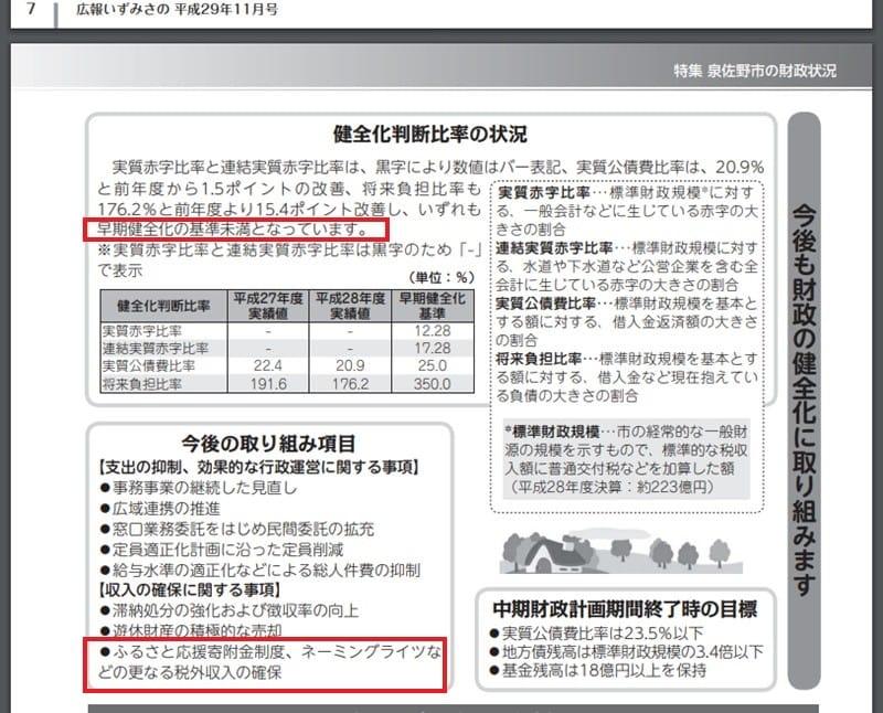 平成29年11月号「広報いずみさの」より 財政健全化の成果とふるさと納税など更なる税外収入確保を明記
