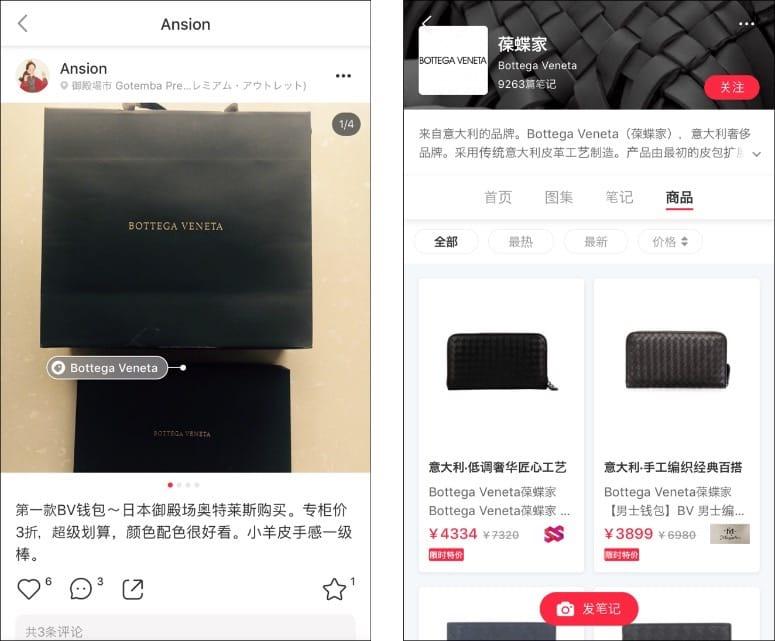 ▲越境ECの「RED」個人のタイムライン(左)。Instagramのように表示される写真にタグが埋め込まれており、このタグをたどると同ブランドの商品がいくつも出てくる(右)
