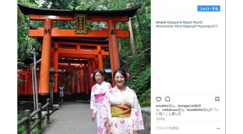 着物を着て写真を撮る訪日外国人が多数:「和」の雰囲気とのマッチングを意識?