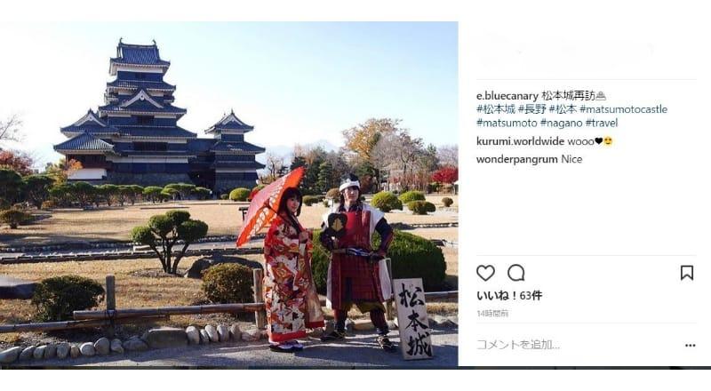 コスプレで松本城を背景に写真を撮るのも人気